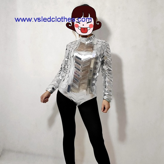 Sliver sexy mirror girl costumes