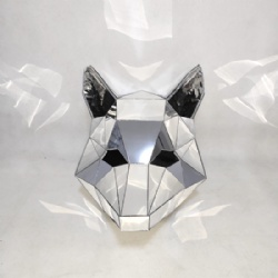 Mirror fox helmet, mirror animal headgear